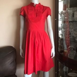 Eliza J Coral Pleated Buttoned Short Sleeve Dress